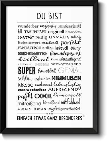 DU BIST WUNDERBAR - Bild für Paare Geschwister Eltern Beste Freunde - mit Rahmen - Geschenkidee Geburtstag Jahrestag Muttertag Muttertagsgeschenk