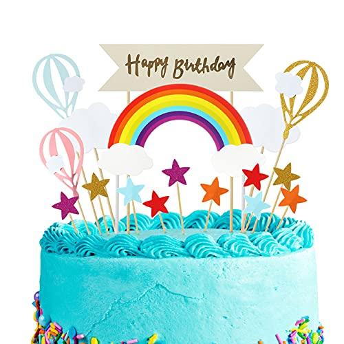 Xinstroe 17 Pezzi Decorazioni Torta Compleanno Bimba, Topper Torta Compleanno Bimbo, Decorazioni per Torte Bambini, Ideale sopra Happy Birthday Cake Topper
