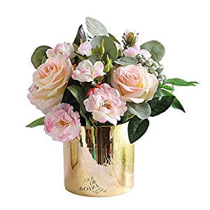 Simulation Rose Artificial Silk Flower Artificial Flower Living Room Decoration Wedding Fake Flower Decoration Dining Table Vase Set Silk Flower Art Real Touch Flower Ornaments