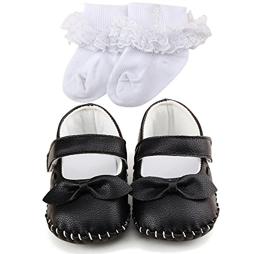 OOSAKU Baby Girls Bowknot Hook and Loop Mary Jane Dress Shoes (6-12 Months, Black & Socks)