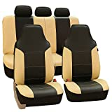 FH GROUP Universal Fit Full Set High Back Royal Seat Cover - PU Leather (Beige/Black) (Airbag Compatible and Rear Split, Fit Most Car, Truck, SUV, or Van, FH-PU103115)