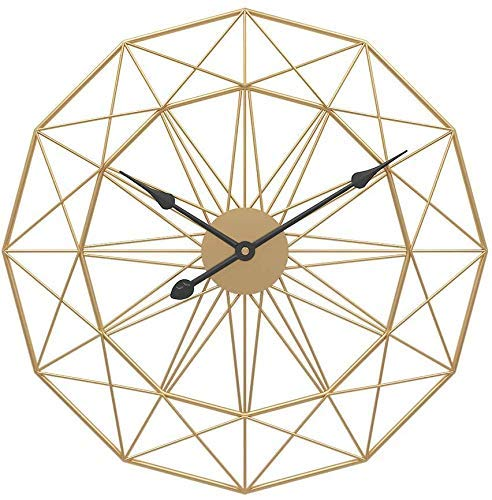 Reloj de Pared Grande Reloj de Cuarzo Europeo de Metal de Metal 3D Reloj Decorativo sin tictac para casa Loft Laver Sala de Estar jinyang (Color : Gold, Size : 50 cm)
