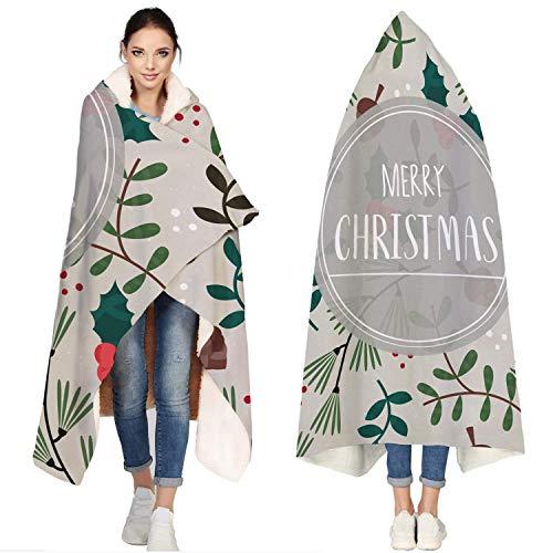 AEMAPE Manta de Franela con Capucha, Feliz Navidad, Flores de Plantas Verdes | Manta de Microfibra Super Suave para Vestir para sofá, sofá, 50 'x 60'