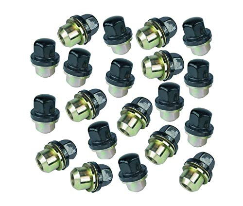 BEARMACH Gloss Black Capped Alloy Wheel Nuts Set of 20 Compatible with Land Rover Defender 90/110 /130 Part # RRD500560B / ANR2763MMMB