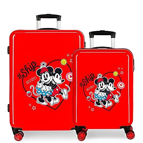 Disney Always Be Kind Juego de Maletas Rojo 55/68 cms Rígida ABS Cierre de combinación Lateral 104L 6 kgs 4 Ruedas Dobles Equipaje de Mano