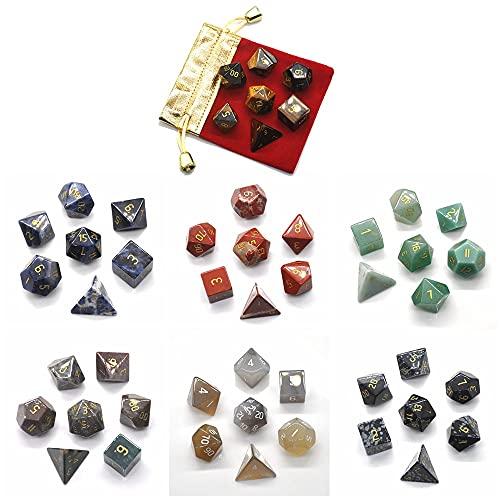 LVYAN 7 Unids/Set Juego de Dados poliédricos con Bolsa D4 D6 D8 D10 D% D12 D20 DND RPG Juegos de Mesa Cristales curativos Naturales Piedra Chakra de energía
