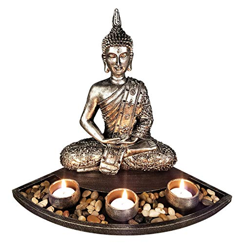 UMXOSM Buddha Statues, 10.8' Sitting Meditating Figurines with Candle Holder, for Home Yoga Zen Buddhists Temple Decor(not Include tealights and votives)