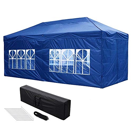 Yescom 10x20 FT Easy Pop Up Canopy Folding Wedding Party Tent with Removable Sidewall & Carry Bag Outdoor Navy