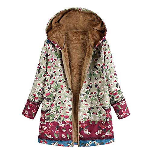 iHENGH Damen Winter Jacke Dicker Warm Bequem Slim Parka Mantel Lässig Mode Frauen Outwear Katze Print Kapuzen Taschen Vintage übergroßen Coat(Grün, M)
