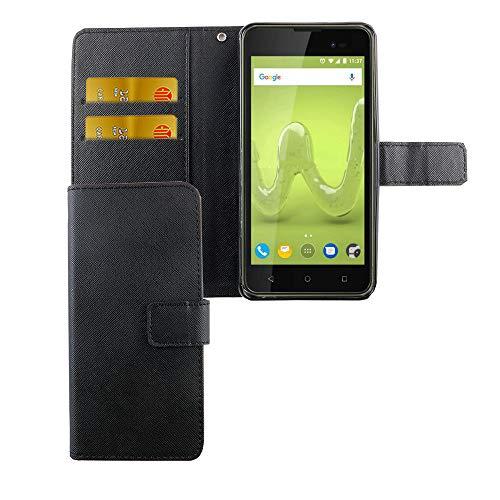 König Design Handyhülle Kompatibel mit Wiko Sunny 2 Plus Handytasche Schutzhülle Tasche Flip Hülle mit Kreditkartenfächern - Onyx Schwarz