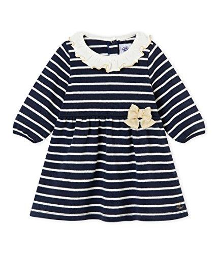 Petit Bateau Baby-Mädchen Robe ML_4432901 Kleid, Mehrfarbig (Smoking/Marshmallow 01), 86 (Herstellergröße: 18M/81cm)