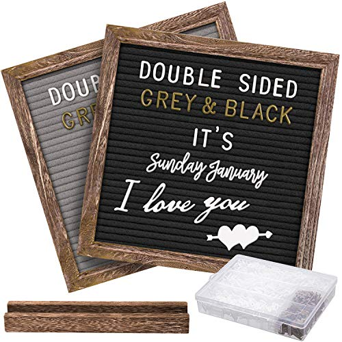 Gelibo Double Sided Letter Board with 750 Precut White & Gold Letters,Months & Days & Extra Cursive Words, Wall & Tabletop Display, Letter Organizer 10x10in