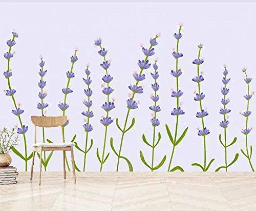 ZJfong 3D foto lila nieuwe lavendel plant hand getekend moderne muur woonkamer slaapkamer muur home decor 330 x 210 cm.