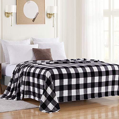 Sweet Home Collection Buffalo Plaid Blanket Fleece Soft and Plush Fuzzy Cozy Microfiber Cover for Bed and Couch, Full/Queen, Black/White