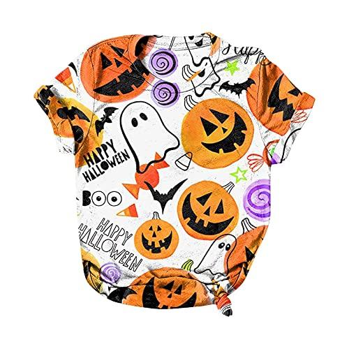 Camisetas de Halloween para mujer con estampado de calabaza y gato negro con estampado de festival de manga corta y cuello redondo suave y sueltas camisetas casuales, Blanco-005, XXL