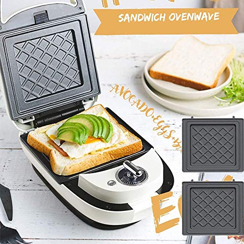 Sandwich Broodrooster 220V Electric Sandwichmaker licht voedsel wafel machine Panini Maker Waffle Iron ontbijt Waffle Machine Multifunctionele Broodrooster, Pink jilisay (Color : White)