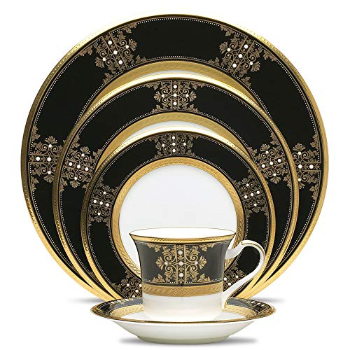 Noritake Evening Majesty 5-Piece Place Dinnerware Setting in Black/White