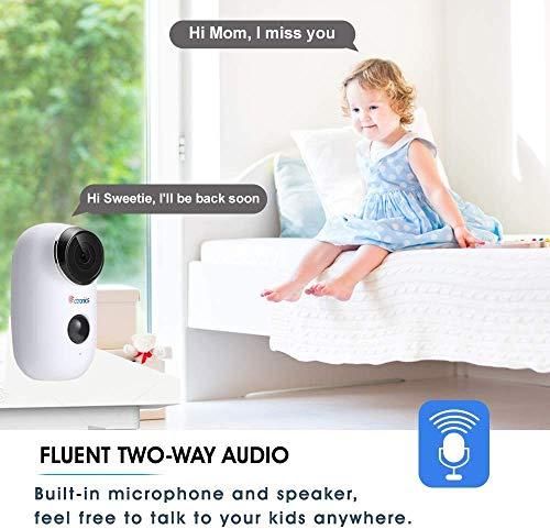 Ctronics WLAN Akku Überwachungskamera Outdoor, Kabellose 1080P Batterie IP Kamera Aussen mit PIR Bewegungsmelder, Push Alarme, 2-Wege-Audio, 20m IR Nachtsicht, IP65 Wasserdicht