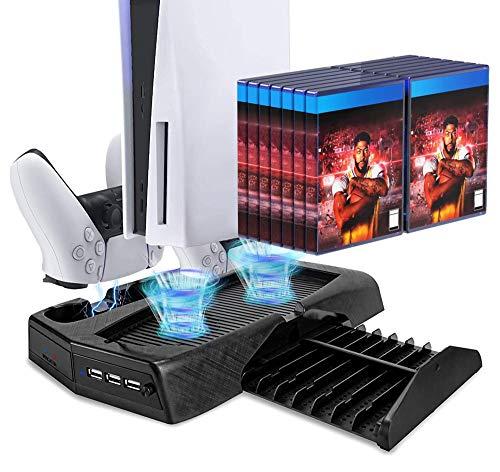 FANPL PS5 Vertikaler Standventilator für Playstation 5 Digital Edition/Ultra HD mit Dual Controller Ladestation & 14 einziehbaren Spielplätzen & Organizer USB-Ports & LED-Anzeigen