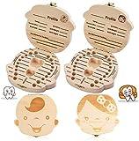 BETOY Caja de dientes para niños, 2 unidades de almacenamiento para bebés, caja de almacenamiento personalizada de madera Decidos