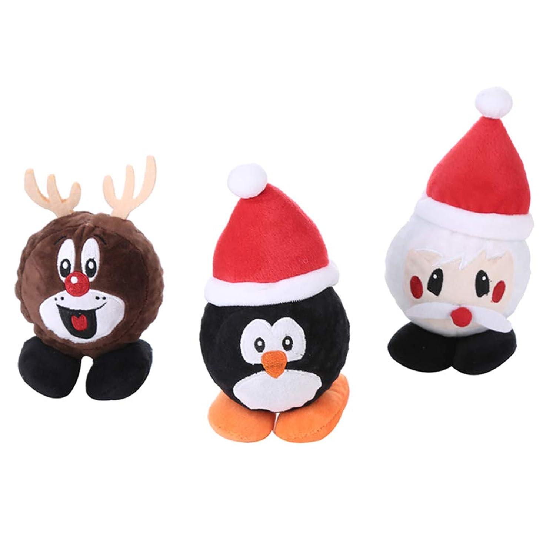 喜劇保護コジオスコibasenice 3ピースクリスマス犬のきしむおもちゃ子犬噛むおもちゃ柔らかい犬のおもちゃきしむ小さな中型犬猫ペット(サンタクロースエルクペンギン)
