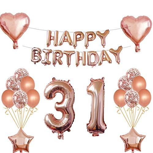 Oumezon 31 Geburtstag Mädchen Dekoration Rose Gold, 31. Geburtstag deko für Mädchen Jungen Happy Birthday Girlande Banner Folienballon Konfetti Luftballons Deko Geburtstag Party Anzahl Ballons