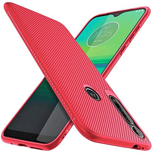 Moto G8 Play Case, KuGi Ultra Slim Premium Soft Protective Case with Anti Slip Shockproof Durable Stylish for Moto G8 Play/Motorola One Macro Phone. (Red)