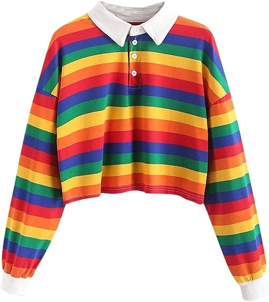 Crop Tops for Women Trendy, Women Color Striped Button Hoodies Pullover Hoodies Teen Girls Crop Tops Cropped Sweatshirt