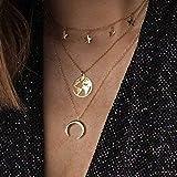 Zoestar Boho Star - Collar con capas de luna dorada, collares con colgante de mapa,...