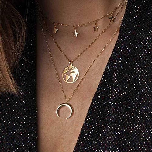 Zoestar Boho Star - Collar con capas de luna dorada, collares con colgante de mapa, joyería de cadena para mujeres y niñas