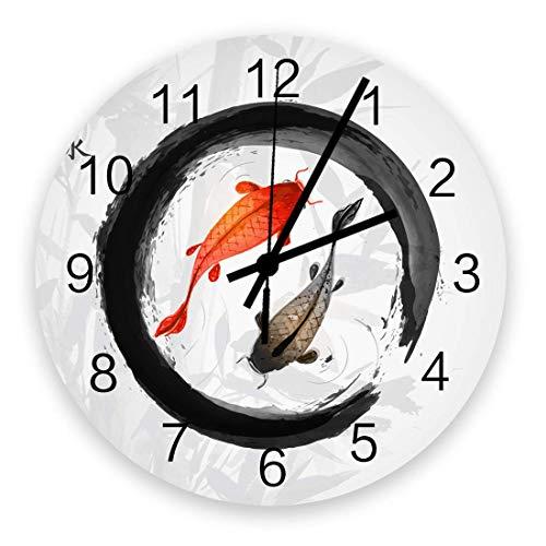 Reloj de Pared artístico para decoración de Sala de Estar, Pintura de Tinta China Lucky Fish Chic silencioso Relojes de Pared de Oficina Colgantes con Pilas