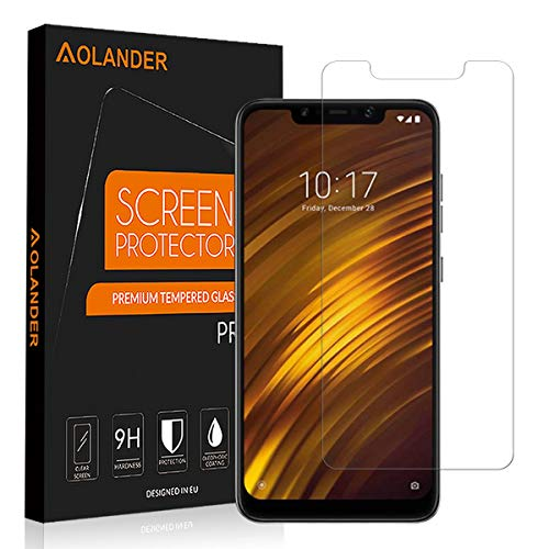 [2 Pack] Aolander XiaomiPocophoneF1 Screen Protector, Aolander[2.5D Round Edge] [9H Hardness] [High Definition] [Bubble Free] Tempered Glass Screen Protector for XiaomiPocophone F1