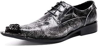 YOWAX Zapatos de Cuero de los Hombres del Metal del Dedo del pie con Cordones Cap Personalizada Occidental del Cantante de...