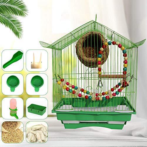 LittRur gabbie per uccelli per volo, 28 cm × 21 cm × 38 cm, con ciotola per cibo/bevitore/asta/altalena singola gabbia + scala