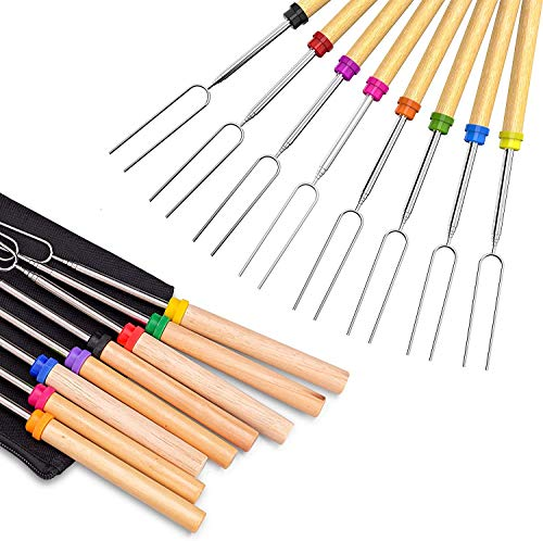 LEONNAGAR BBQ Roasting Sticks, Marshmallow Marshmallow Roasting Forks, Set of 8 Telescopic Smores Skewers Extra Long Heavy Duty Forks for Fire Pit & Fireplace - Best Camping Grill Accessories