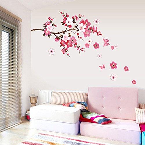 Chinatera Kirschblüte Wasserdicht Wandaufkleber Hintergrund für Schlafzimmer