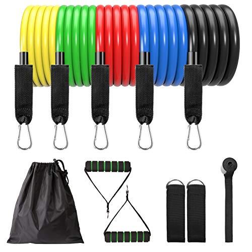 Vtarcza Resistance Bands Widerstandsbänder Set, Expander Fitnessbänder Übungsbänder Set mit 5 Gummiband Tubes, 2 Griffe, Türanker und 2 Fußschlaufen für Krafttraining,Physiotherapie,Home Gyms Workout