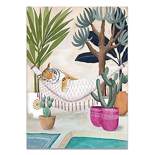 Nordic Fleur Plants Stockholm Style Art Canvas målning Poster Vardagsrum och kafé dekoration 50x70 cm (19,68x27,55 in) S-1