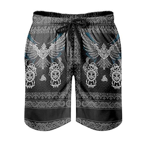Bañador para hombre, diseño vikingo, símbolo nórdico, con estampado 3D y forro de malla, pantalones cortos de natación con cordón ajustable, color blanco, XL
