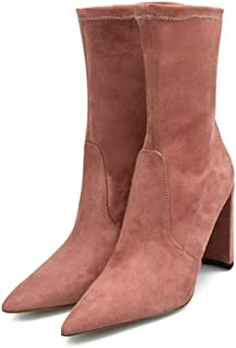 Shoes Fashion Women's Mid Calf Boots 9cm High Chunky Heels Strechy Faux Suede Upper Booties for Ladies Comfortable (Color : Champagne, Size : 9.5 M US)