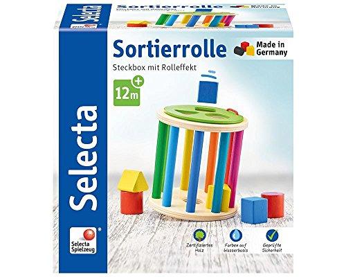 Selecta 62007 Sortierrolle, Sortier und Steckspiel aus Holz, 13 cm