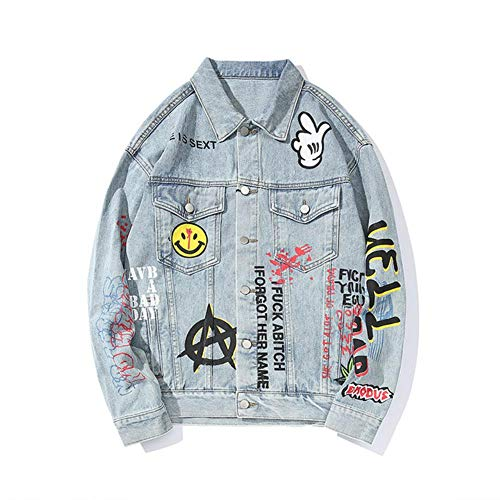 XIELH Denim Jas Man Oversize Hip Hop Losse Graffiti Jas wassen Water Bovenkleding Jeans Jas Windbreaker Top