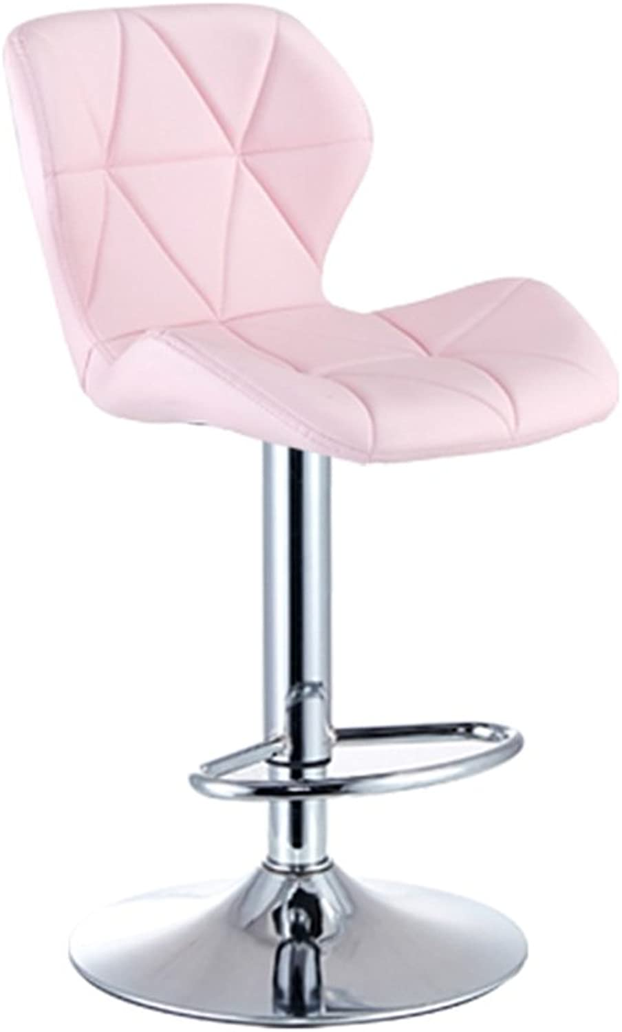 Bar Chairs Lift Chair Nail Chair with backrest High Stool Household Home Office Furniture (color   Pink)