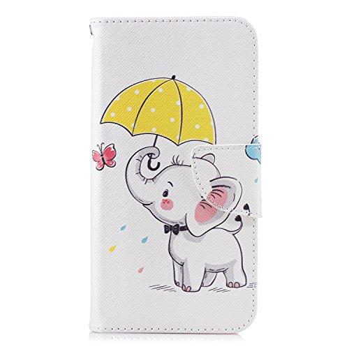 VQWQ Handyhülle für Xiaomi Redmi 6 / Redmi 6A Hülle - Gemaltes Muster Flip Hülle Lederhülle Klapphülle Magnetisch mit Kartenfach Schutzhülle für Xiaomi Redmi 6 / Redmi 6A Tasche [Tier]-Elefant 1