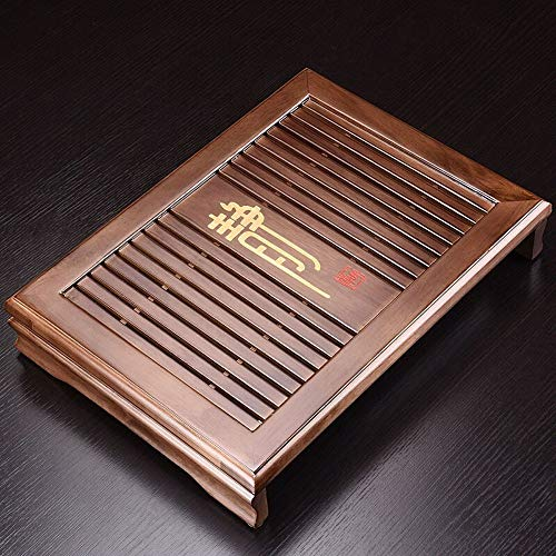 MAATCHH Vassoio da tè in Legno Classic Gongfu Tea Vassoio con i cassetti Acqua Bagagli Giapponese di Stile Cinese del tè Piatto da Portata Vassoio del tè (Colore : Natural, Dimensione : 32x43x7cm)