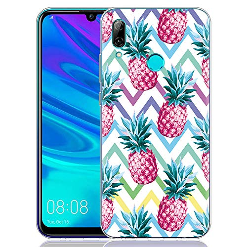 Pnakqil Funda Huawei P Smart 2019, Silicona Transparente con Dibujos Diseño Slim TPU Antigolpes Ultrafina de Protector Piel Case Cover Cárcasa Fundas para Movil Huawei PSmart, Piña 03