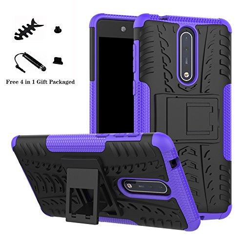 LiuShan Nokia 8 Custodia, Protettiva Shockproof Rigida Dual Layer Resistente agli Urti con cavalletto Caso per Nokia 8 Smartphone(con 4in1 Regalo impacchettato),Viola