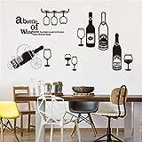 ufengke Stickers Muraux Cuisine Verre de Vin Rouge Autocollants Mural Champagne Tasse pour Salon Bureau Décoration Murale