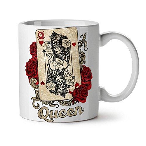 Pari Carte Reine Mug en céramique, Poker Jeu Tasse - Grande, poignée facile à prendre, impression recto verso, idéale pour les buveurs de café et de thé By Wellcoda