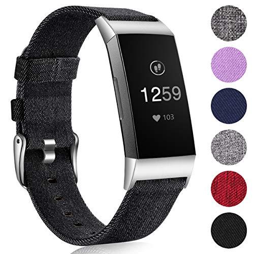 Ouwegaga Woven Armband Kompatibel mit Fitbit Charge 4 Armband/Fitbit Charge 3 Armband, Ersatzband Gewebte Stoff Armband Kompatibel mit Fitbit Charge 3/Charge 4, Groß Denim Schwarz